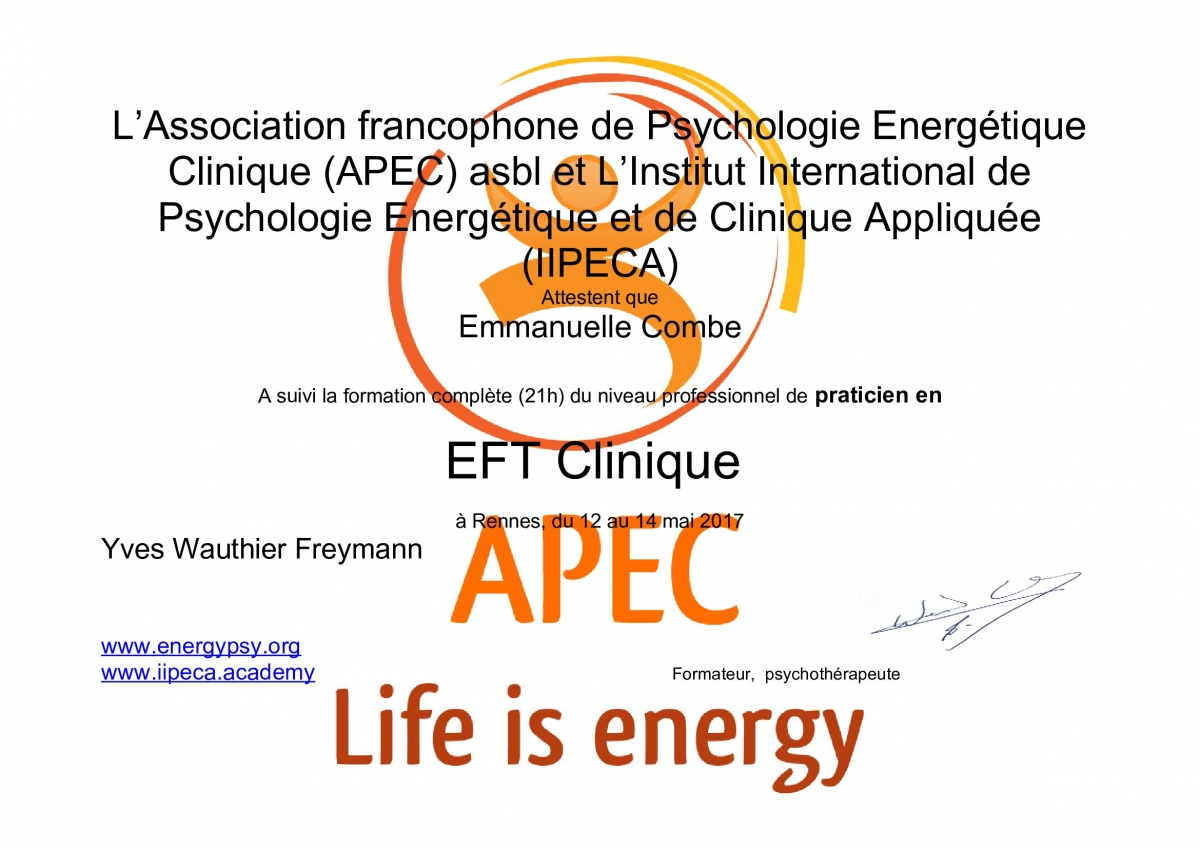 Emmanuelle Combe Praticienne EFT Clinique Certifiée APEC
