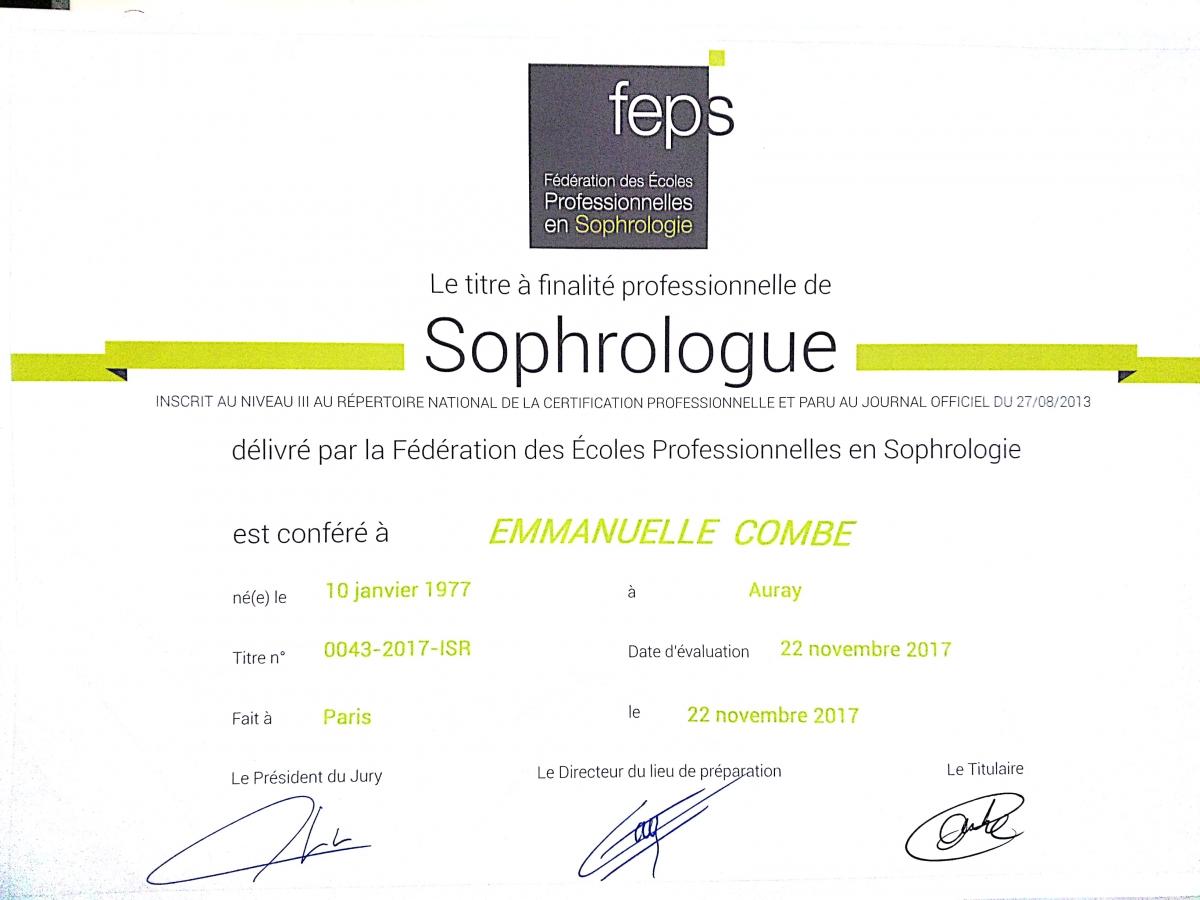 Emmanuelle Combe sophrologue diplômée Vannes